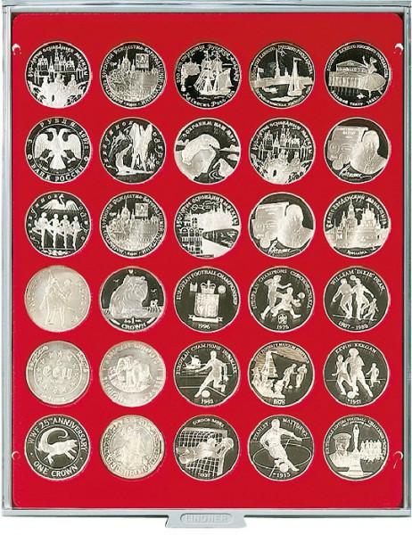 Velourseinlage, hellrot, mit 30 runden Vertiefungen für Münzen mit ø39 mm