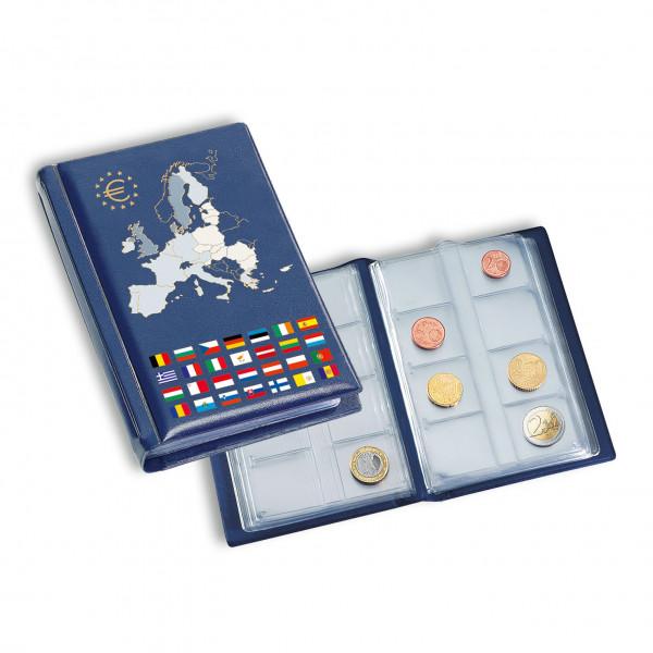 Taschenalbum ROUTE für 12 Euro-Kursmünzensätze, blau