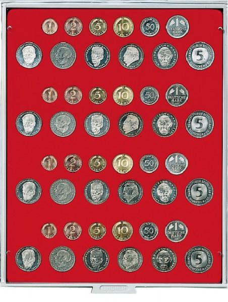 Velourseinlage, hellrot, für 4 DM-Kursmünzensätze