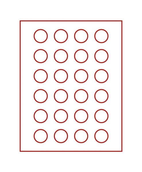 Velourseinlage, dunkelrot, mit 24 runden Vertiefungen für Münzen mit ø32,5 mm