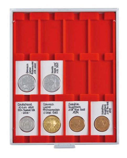 Velourseinlage, hellrot, mit 12 rechteckigen Fächern für REBECK COIN L Münzrähmchen 75x50 mm