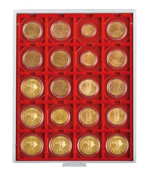 Münzbox STANDARD mit 20 quadratischen Fächern für Münzrähmchen 50x50 mm/Münzkapseln CARRÉE/OCTO Münzkapseln