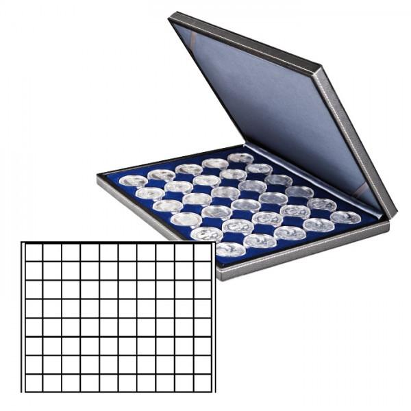 Münzkassette NERA M mit dunkelblauer Münzeinlage mit 80 quadratischen Fächern für Münzen/Münzkapseln bis ø 24 mm