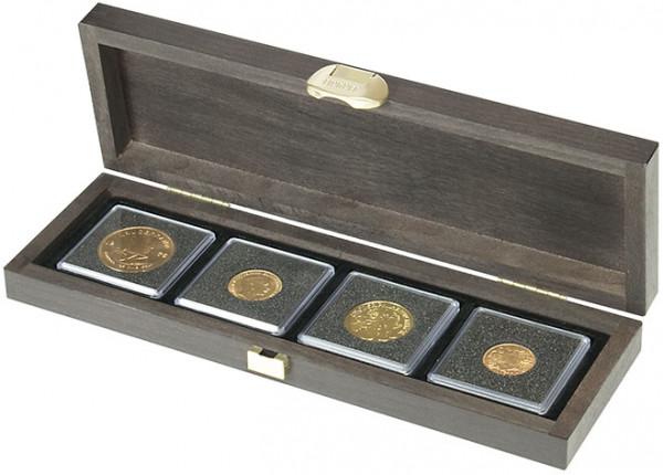 Echtholzkassette CARUS S mit 4 quadratischen Fächern für Münzen oder Münzkapseln mit zu Außen-ø 52 mm