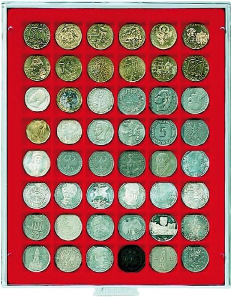 Velourseinlage, hellrot, mit 48 quadratischen Fächern für Münzen/Münzkapseln bis ø30 mm