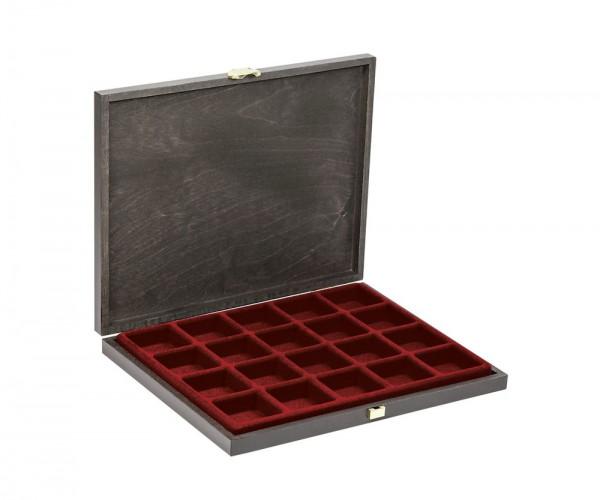 Echtholz-Sammelkassetten CARUS-1 mit dunkelroter Einlage mit 20 quadratischen Fächern