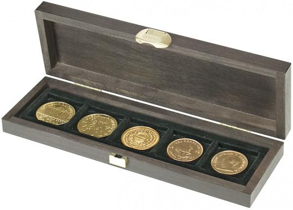 Echtholzkassette CARUS S mit 5 quadratischen Fächern für Münzen oder Münzkapseln mit zu Außen-ø 40 mm