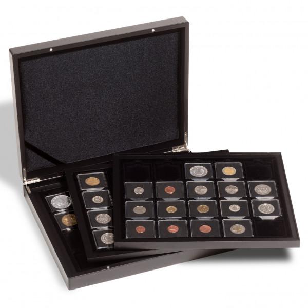 Münzkassette für 60 QUADRUM-Münzkapseln, 3-lagig, schwarz