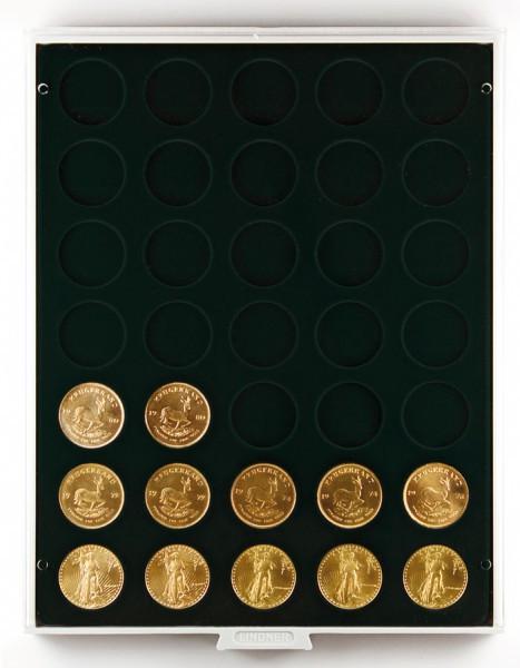 Münzbox CARBO mit 35 runden Vertiefungen für Münzen mit ø32,5 mm, z.B. für deutsche 20 Euro- bzw. 10 Euro-Silbermünzen
