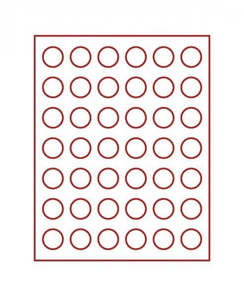 Velourseinlage, dunkelrot, mit 42 runden Vertiefungen für Münzen mit ø29,5 mm