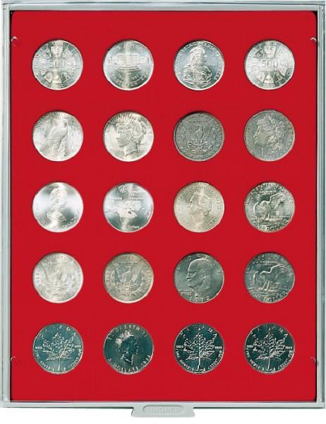 Münzbox STANDARD mit 20 runden Vertiefungen für Münzen mit ø38 mm