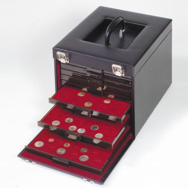 Münzkoffer schwarz, aus Kunstleder für 10 Münzboxen