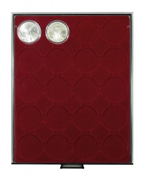 Velourseinlage, dunkelrot, mit 20 runden Vertiefungen für Münzkapseln mit Außen-ø 48 mm