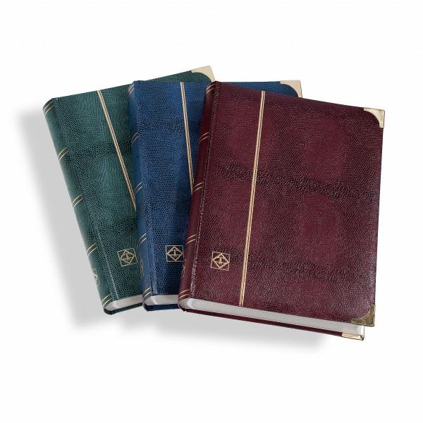 COMFORT DL-Einsteckbuch DIN A4, 64 weiße Seiten, watt. Einband, Kroko-Optik, Metallecken, blau