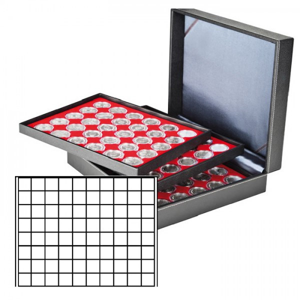 Münzkassette NERA XL mit 3 Tableaus und hellroten Münzeinlagen mit 240 quadratischen Fächern für Münzen/Münzkapseln bis ø 24 mm