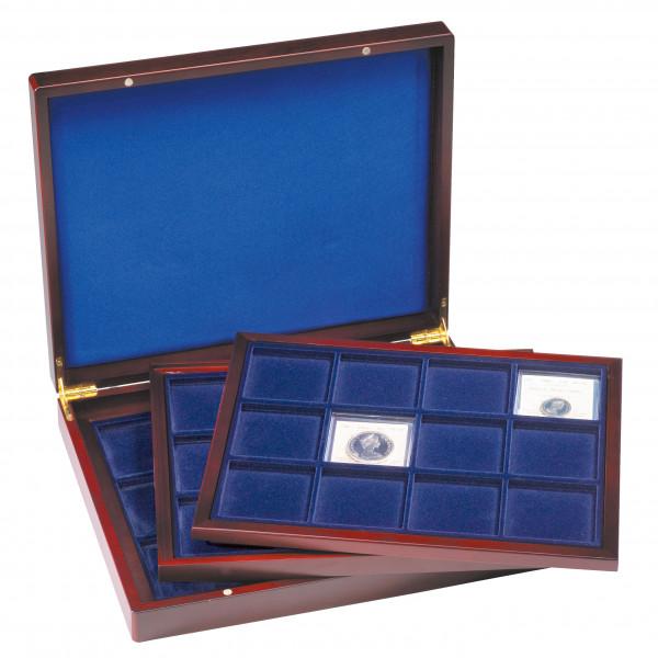 Münzkassette VOLTERRA TRIO deLuxe, mit je 12 eckigen Fächern für Münzen bis 66 mm Ø, blau