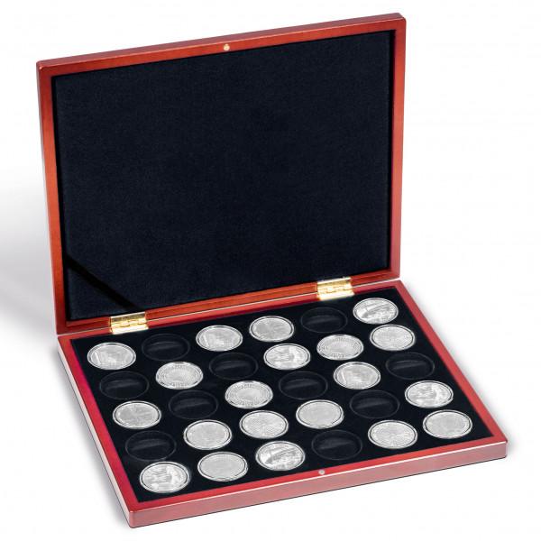 Münzkassette VOLTERRA UNO für 30 dt. 20-Euro-Gedenkmünzen in Kapseln, schwarze Einlage