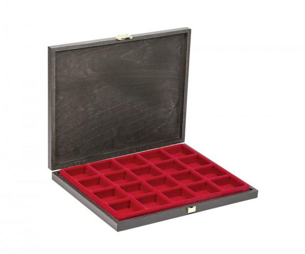 Echtholz-Sammelkassetten CARUS-1 mit hellroter Einlage mit 20 quadratischen Fächern