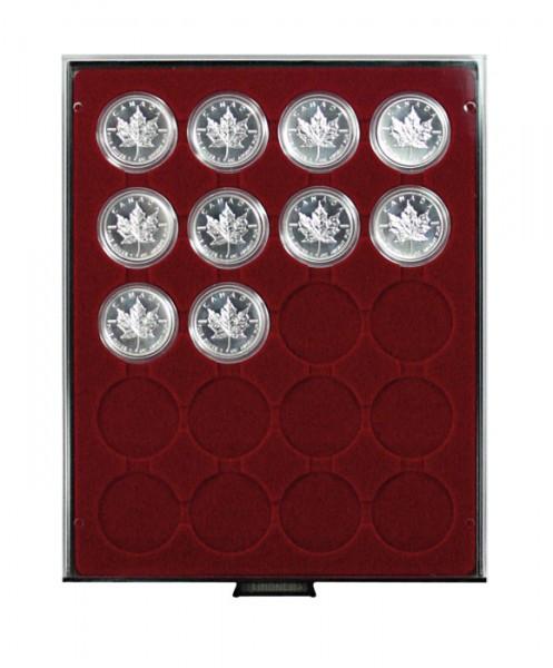 Münzbox RAUCHGLAS mit 20 runden Vertiefungen für Münzkapseln mit Außen-ø46 mm und für LINDNER Münzbox-Kapseln klein
