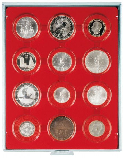 Velourseinlage, hellrot, mit 12 runden Vertiefungen für Münzkapseln mit Außen-ø58 mm und für LINDNER Velourseinlage-Kapseln groß
