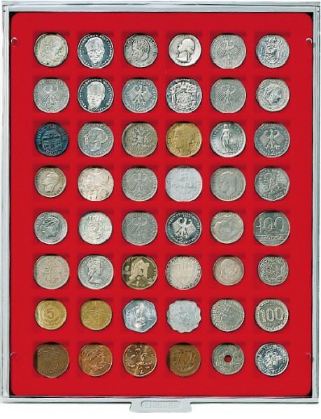 Velourseinlage, hellrot, mit 48 quadratischen Fächern für Münzen/Münzkapseln bis ø28 mm