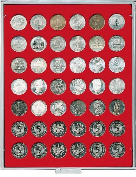 Velourseinlage, hellrot, mit 42 runden Vertiefungen für Münzen mit ø29,5 mm