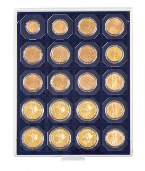 Velourseinlage, dunkelblau, mit 20 quadratischen Fächern für Münzrähmchen 50x50 mm/Münzkapseln CARRÉE/OCTO Münzkapseln
