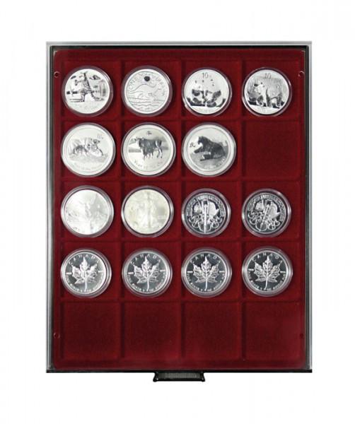 Münzbox RAUCHGLAS mit 20 extra tiefen quadratischen Fächern für Münzen/Münzkapseln bis Außen-ø51 mm
