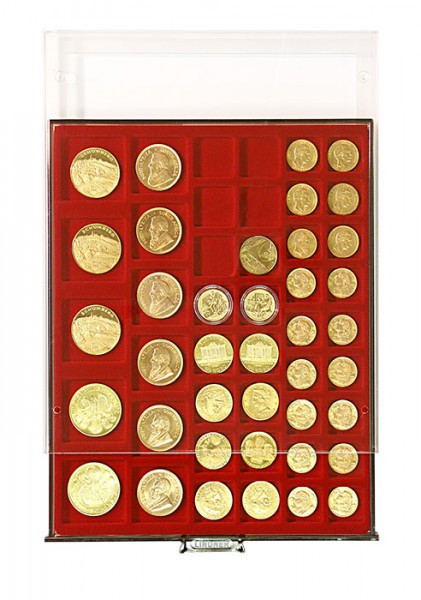 Münzbox RAUCHGLAS mit 45 rechteckigen Fächern für Münzen/Münzkapseln bis ø24, 28, 39 und 44 mm