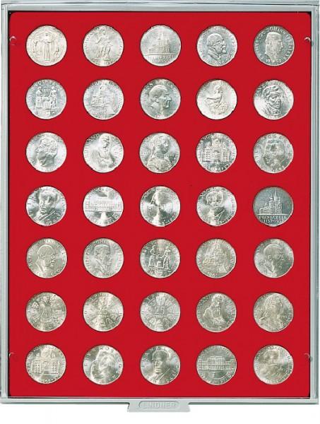 Münzbox STANDARD mit 35 runden Vertiefungen für Münzen mit ø30 mm
