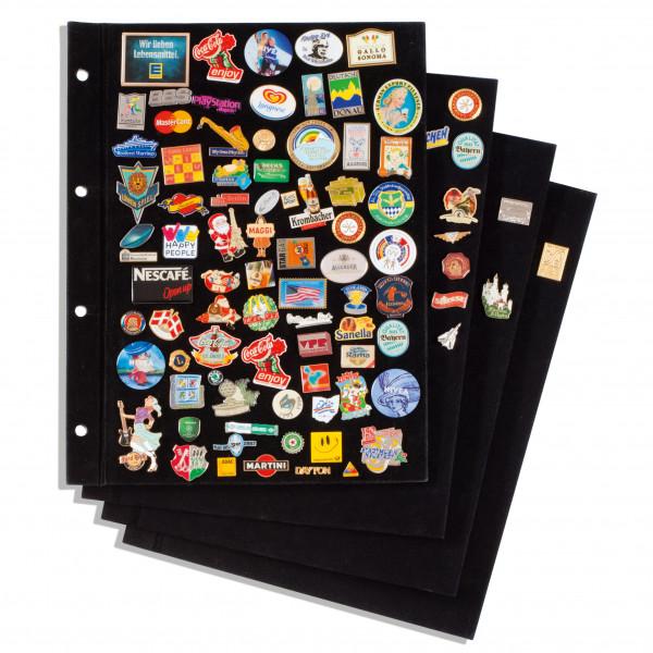 Tafeln für Pin-Album mit schwarzem Samtbezug, 4er-Pack
