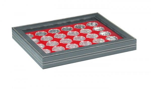Münzkassette NERA M PLUS mit hellroter Münzeinlage mit 30 runden Vertiefungen für Münzkapseln mit Außen-ø 39,5 mm, z.B. für deutsche 20 Euro-/10 Euro-Silbermünzen in LINDNER Münzkapseln