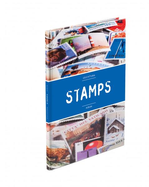 Einsteckbuch STAMPS A5, 16 weiße Seiten, unwattierter, farbiger Einband (Banderole)
