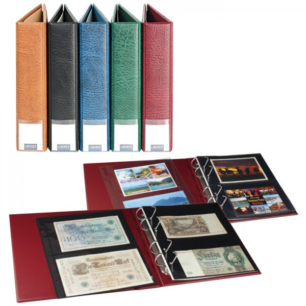 LINDNER Luxus-Sammelalbum für Banknoten/Postkarten mit 20 geteilten, beidseitig bestückbaren Folienblättern