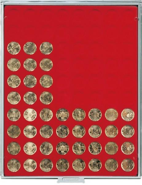 Velourseinlage, hellrot, mit 80 runden Vertiefungen für Münzen mit ø22,25 mm