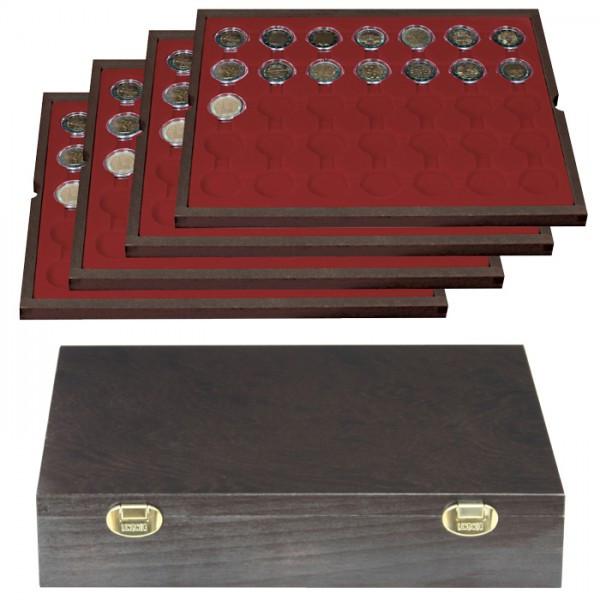 Echtholzkassette CARUS mit 4 Tableaus für 140 Münzkapseln mit Außen-ø 32 mm, z.B. für 2 Euro-Münzen in LINDNER Münzkapseln
