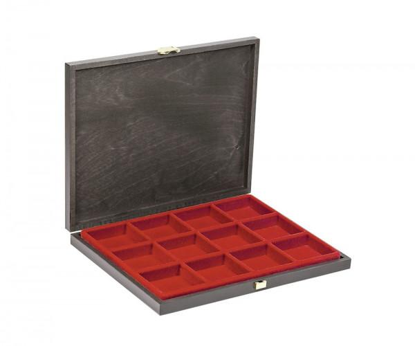 Echtholz-Sammelkassetten CARUS-1 mit hellroter Einlage mit 12 quadratischen Fächern