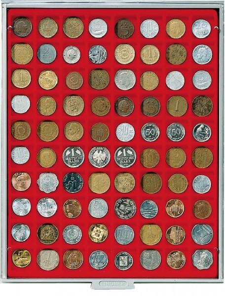 Münzbox STANDARD mit 80 quadratischen Fächern für Münzen/Münzkapseln bis ø24 mm
