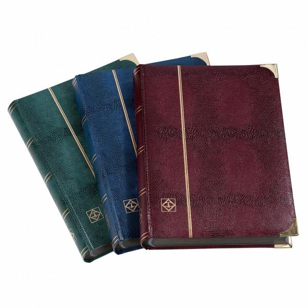 COMFORT DL-Einsteckbuch DIN A4, 64 schwarze Seiten, watt. Einband, Kroko-Optik, Metallecken, blau