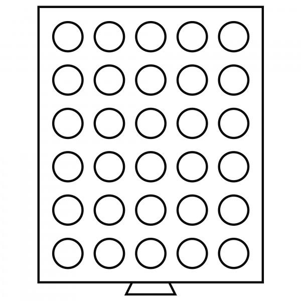 Münzbox 30 runde Fächer (33 mm), rauchfarben