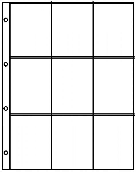 Einsteckblätter A4 glasklar mit 9 Taschen (72 x 100), 10er-Packung