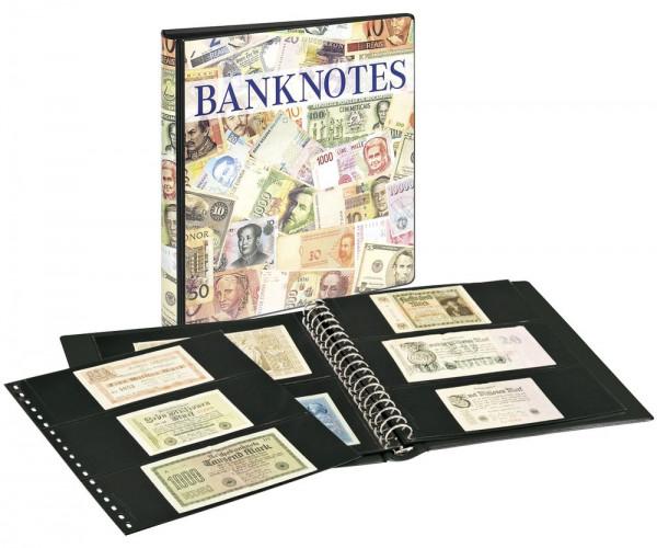 Banknotenalbum mit 10 Klarsichthüllen in 2 Ausführungen und schwarzen Zwischenblättern.