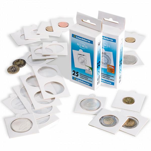 Münzrähmchen MATRIX, weiß, selbstklebend, 100er-Pack
