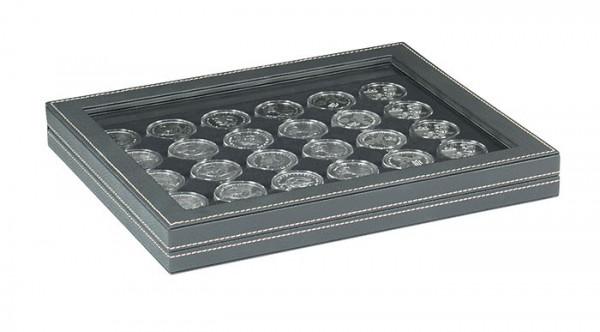 Münzkassette NERA M PLUS mit schwarzer Münzeinlage mit 30 runden Vertiefungen für Münzkapseln mit Außen-ø 37,5 mm, z.B. für orig. verkapselte deutsche 20 Euro-/10 Euro-Silbermünzen in Spiegelglanz