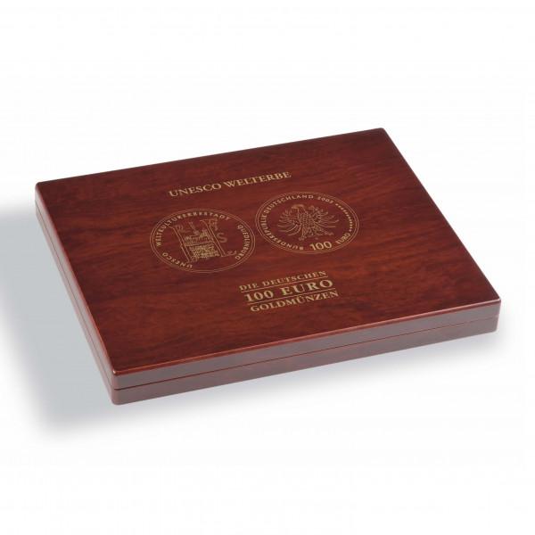 """Münzkassette VOLTERRA für 16 dt. 100-Euro-Goldmünzen """"UNESCO Welterbe"""" in Originalkapseln"""