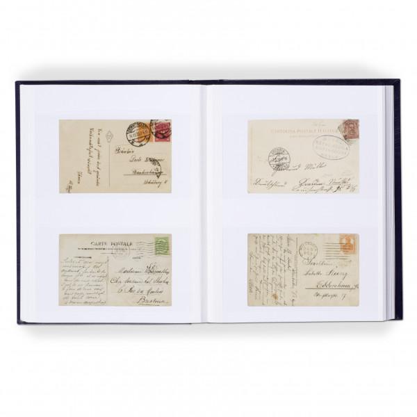 Einsteckalbum für 128 Briefe und Postkarten, 64 weiße Seiten, wattierter Einband, blau