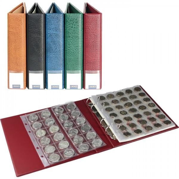 LINDNER Luxus-Münzalbum bestückt mit 10 Münzblättern