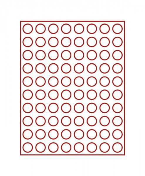 Velourseinlage, dunkelrot, mit 80 runden Vertiefungen für Münzen mit ø22,25 mm