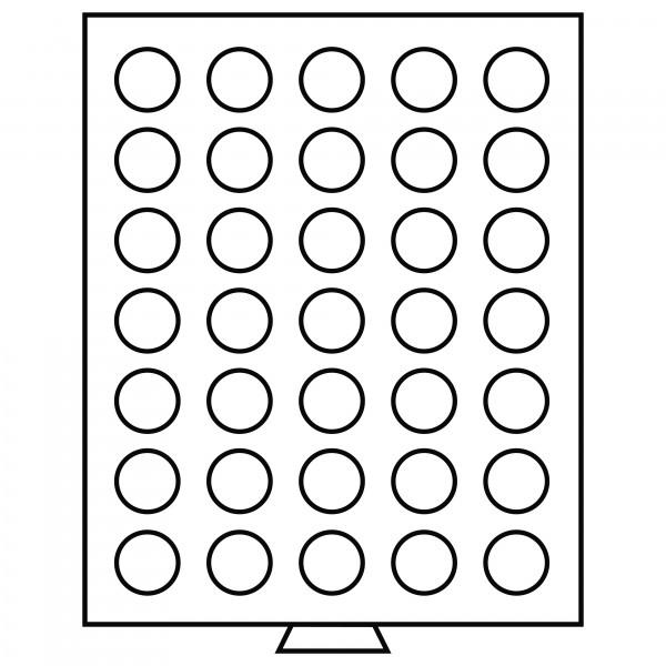Münzbox 35 runde Fächer (31 mm), rauchfarben