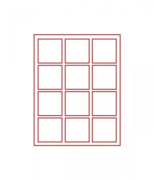 Velourseinlage, RAUCHGLAS mit 12 quadratischen Fächern 66 x 66 mm für Münzen/Medaillen und sonstige Sammelobjekte